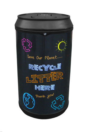 Picture of Drinks Can Recycling Bin with Blackboard Graphics