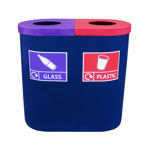 Picture of Popular Twin Recycling Bin with Recycling Graphic