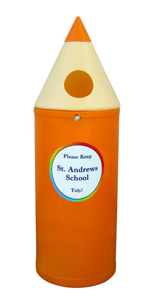Picture of Micro Pencil Litter Bin with School Name Graphics
