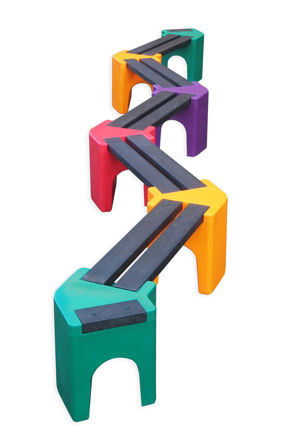 Picture of Multi-coloured Zig-Zag Benches - 10 person