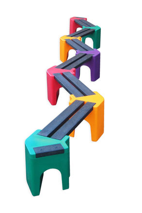 Picture of Multi-coloured Zig-Zag Benches - 12 person