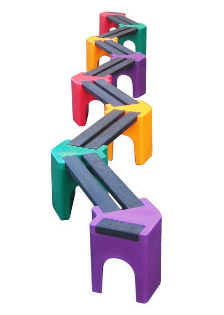Picture of Multi-coloured Zig-Zag Benches - 14 person