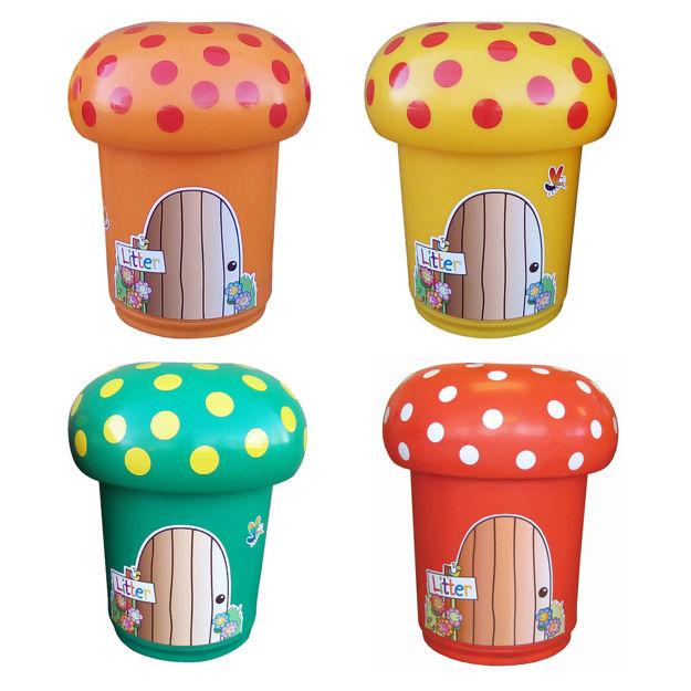 Picture of Set of 4 Mushroom Litter Bins with Spots & Door Graphics