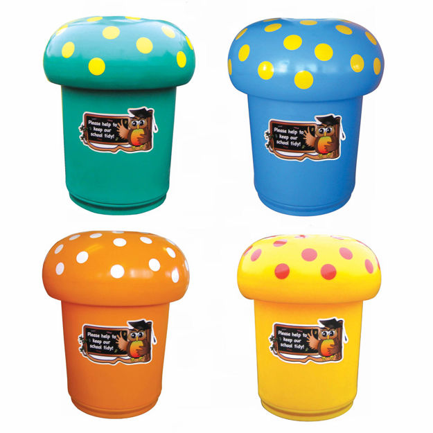 Picture of Set of 4 Mushroom Litter Bins with Spots & Owl Graphics
