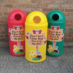 Picture of Set of 4 Micro Slimline Classic Litter Bins with Litterbug Graphics